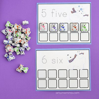 Printable Polar Bear Counting Cards – Mini Erasers Activity