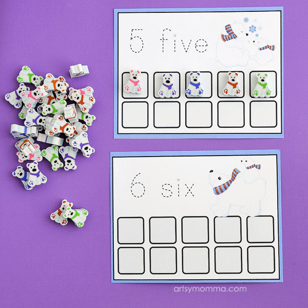 Printable Polar Bear Counting Cards & Mini Erasers