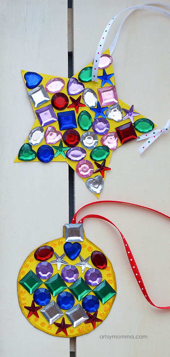 Colorful Rainbow Jewel Christmas Ornaments Craft Idea