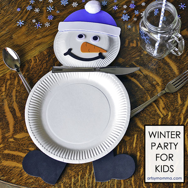 Snowman Party Plate Setting for Kids Winter Party Tablescape