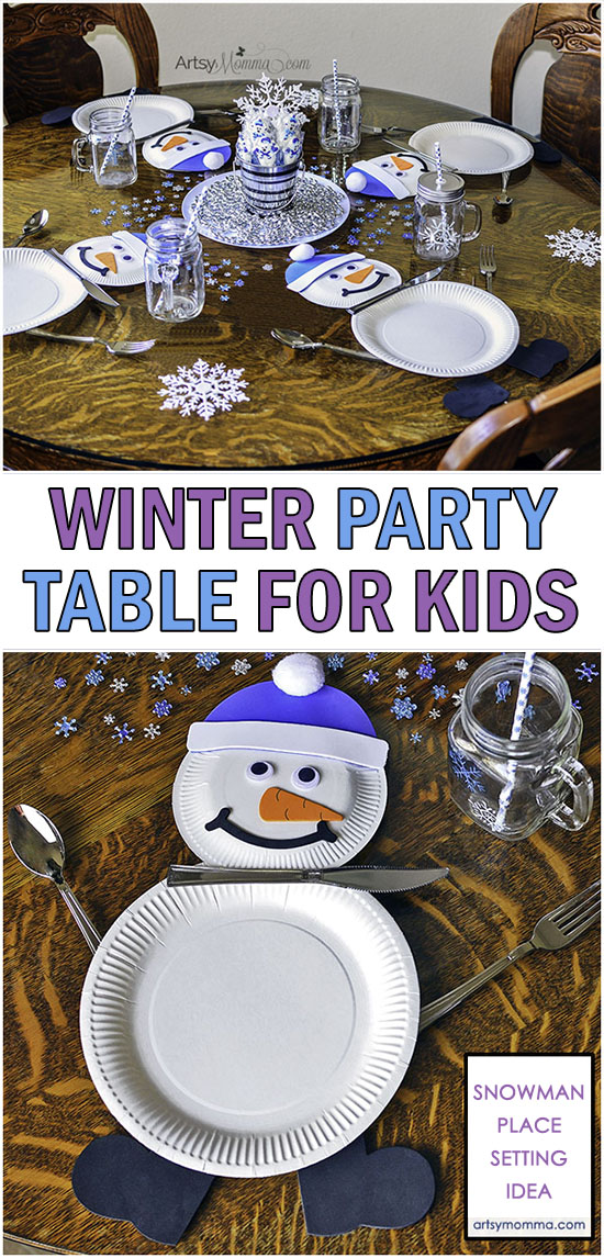 How to throw a fun Winter Party for kids: Tablescape with SNowman Place Settings