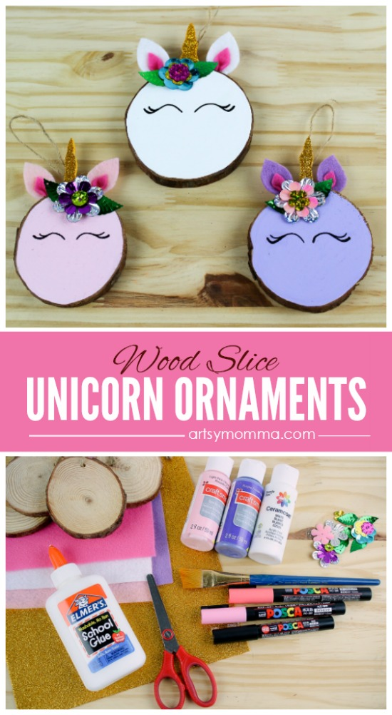 How to make Wood Slice Unicorn Ornaments