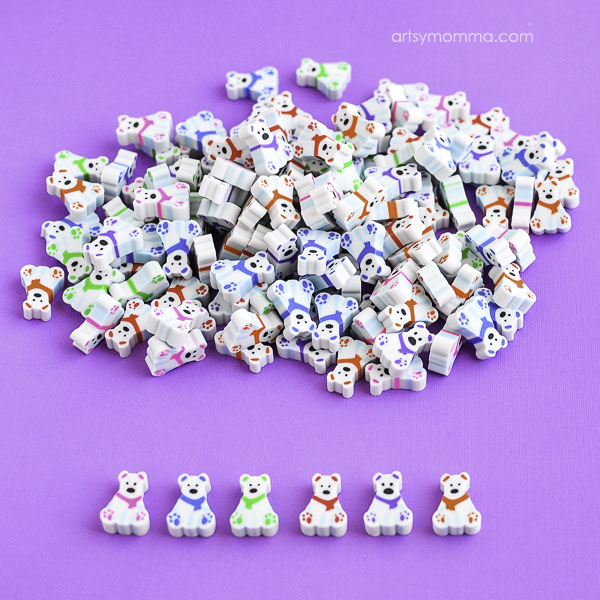 Polar Bear Mini Erasers for Learning Activities