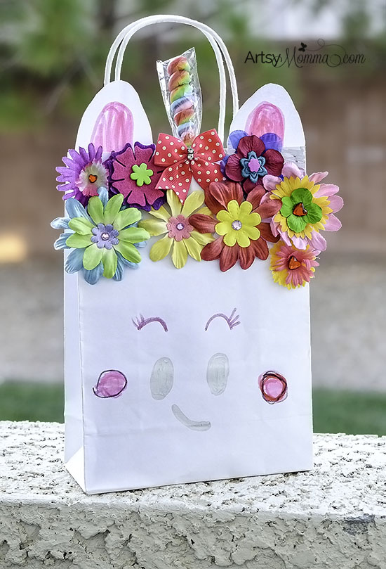 Kid Made Unicorn Craft Bag with Flowers and a Twisty Rainbow Lollipop
