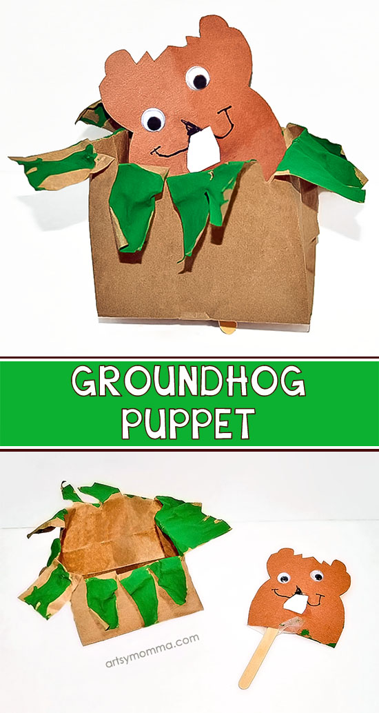 How to make a Pop Up Groundhog Puppet from a Paper Bag