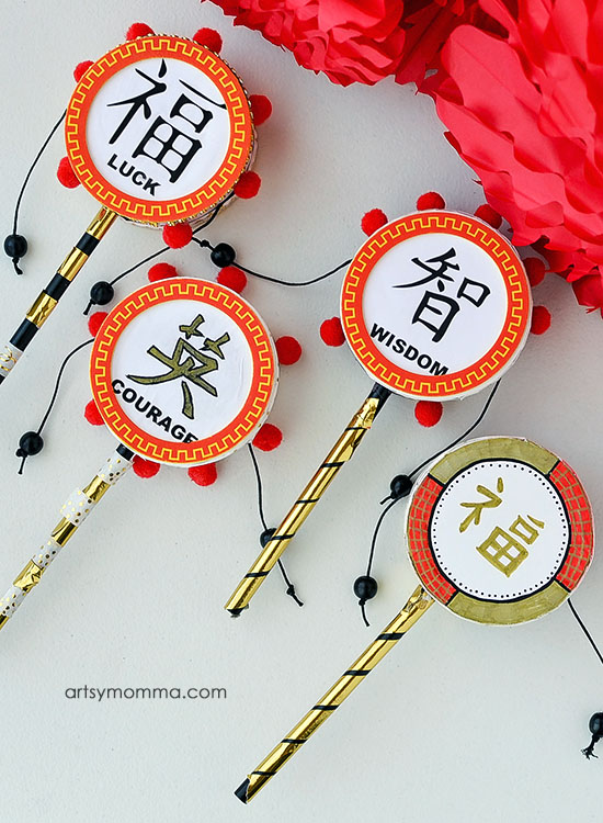 How to make Chinese Drums to Celebrate Chinese New Year with Kids