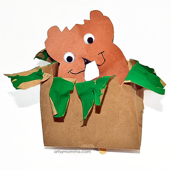 Peeking Paper Bag Groundhog Puppet for Imaginative Play - Groundhog Day Idea
