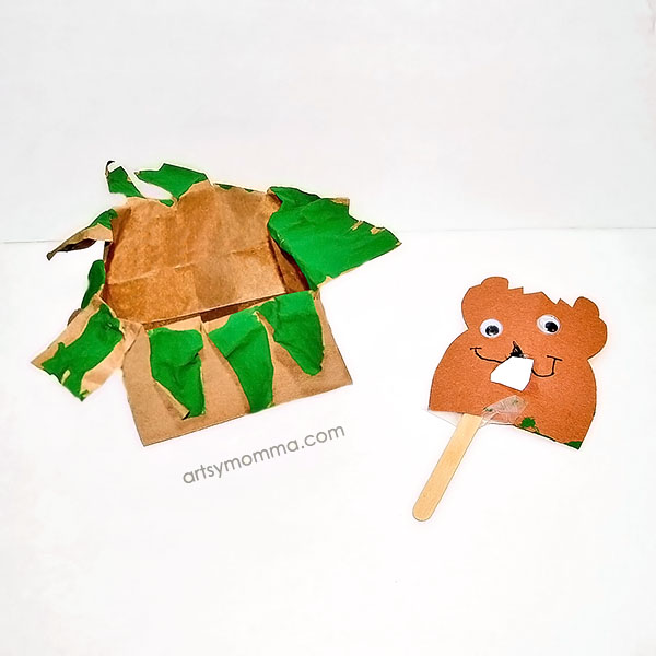 Make a Pop Up Groundhog Puppet from a paper bag