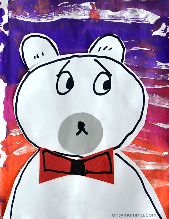 Winter Polar Bear Art Project for 1st Graders - Mixed Media Collage