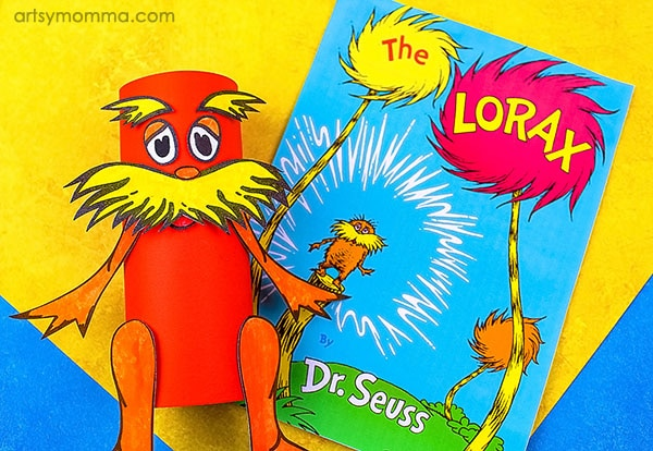 Recycled Cardboard Tube Lorax Craft including printable template