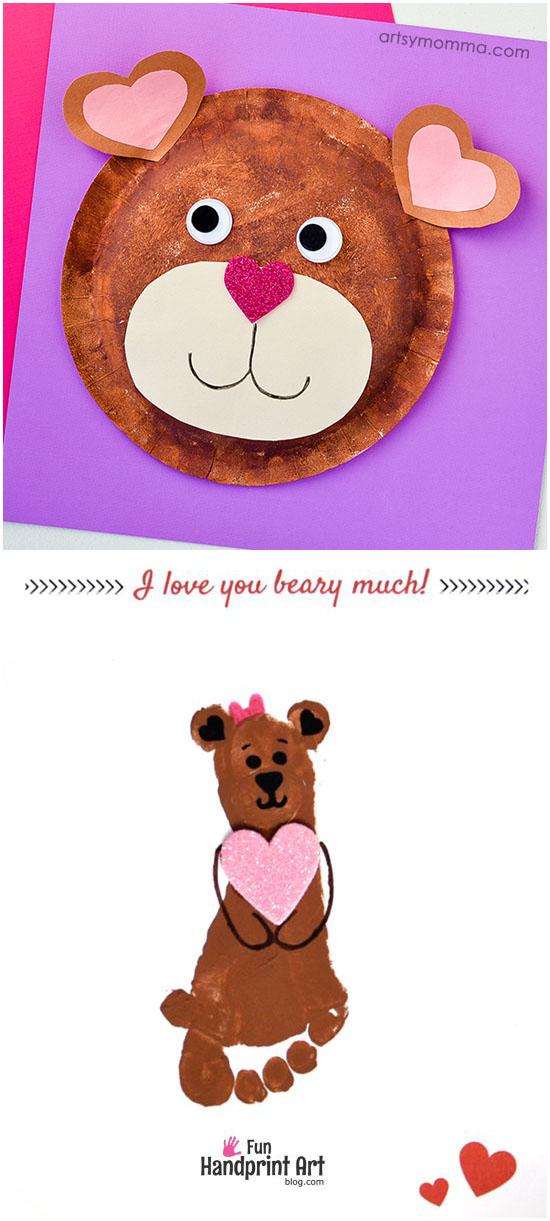 I Love You Bear-y Much! Crafts: Paper Plate Teddy Bear Craft & Footprint Bear
