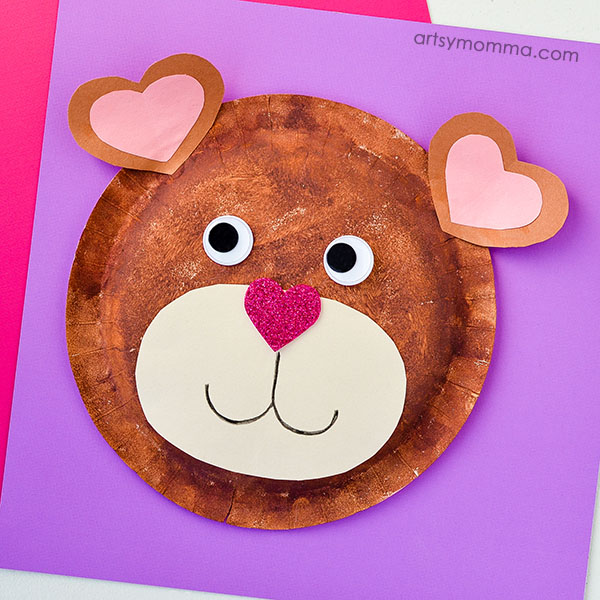 I Love You Bear-y Much! Valentineu0027s Day Paper Plate Craft & Paper Plate Teddy Bear Craft with Heart Shapes for Valentineu0027s Day