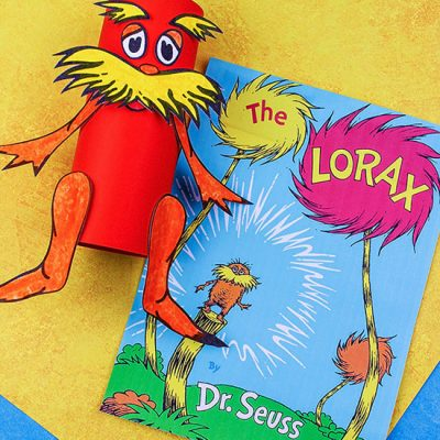 Recycled Cardboard Tube Lorax Craft with Printable Template
