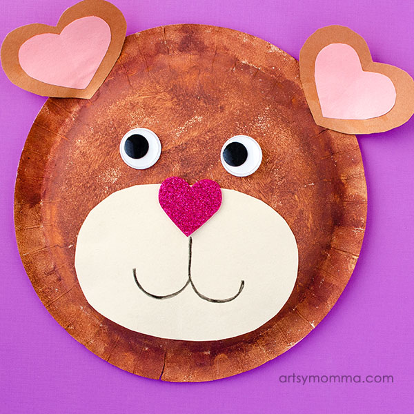 Sweet Paper Plate Teddy Bear Craft for Valentine's Day