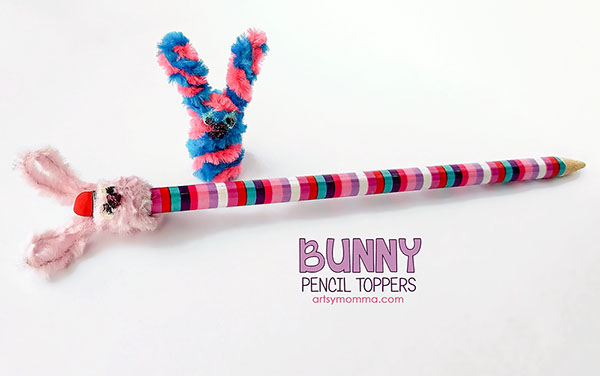 How to make Bunny Pencil Toppers from Pipe Cleaners