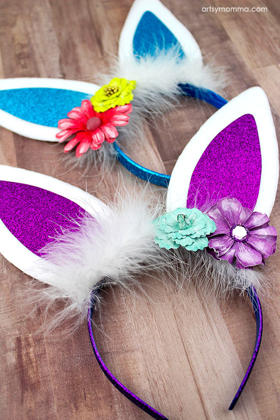 Kids Bunny Ears Headband Tutorial for Spring or Easter - Fluffy & Sparkly