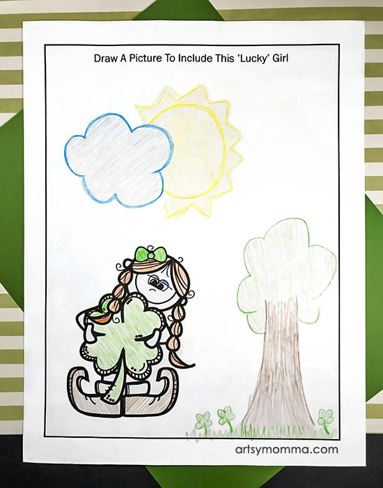 St. Patrick's Day Drawing Prompt Worksheet for Kids