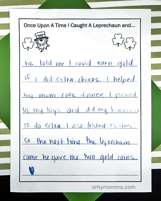 Leprechaun Creative Writing Prompt Worksheet