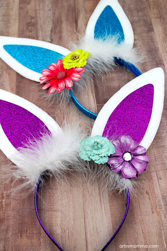 How to make fluffy DIY Bunny Ears Headbands for Spring or Easter - fun for photos!