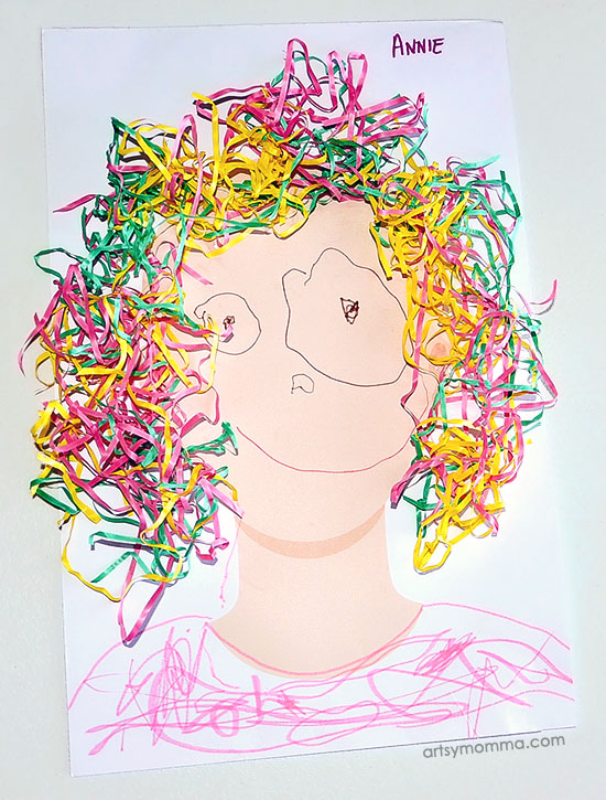 Repurposed Easter Grass Hair Idea for Kids Art Projects