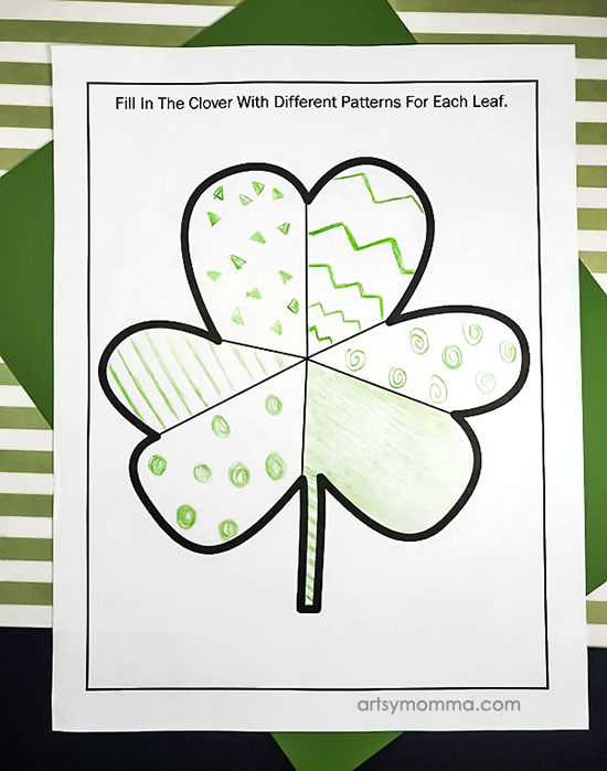 Printable Shamrock Coloring Page and Patterning Activity