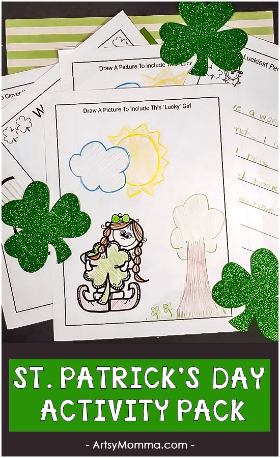 Free Printable St. Patrick's Day Activity Pack: Word Search, Drawing Prompts, Writing Prompts, Coloring Page