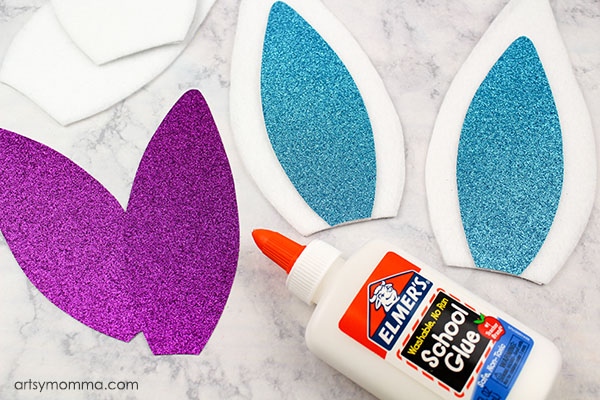Make Rabbit Ears from Felt and Glitter Cardstock