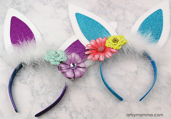 Add flowers to the bunny ears to make it a pretty Spring headband