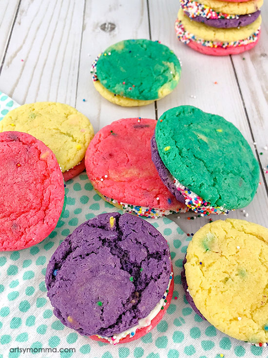 Multi-colored Funfetti Sandwich Cookies with Sprinkles