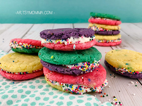Colorful Sandwich Cookies using Funfetti Cake Mix
