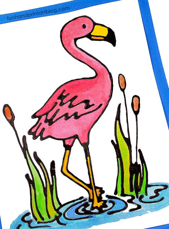 Pink Flamingo Watercolor Art with Black Glue Outlines & Flamingo Template