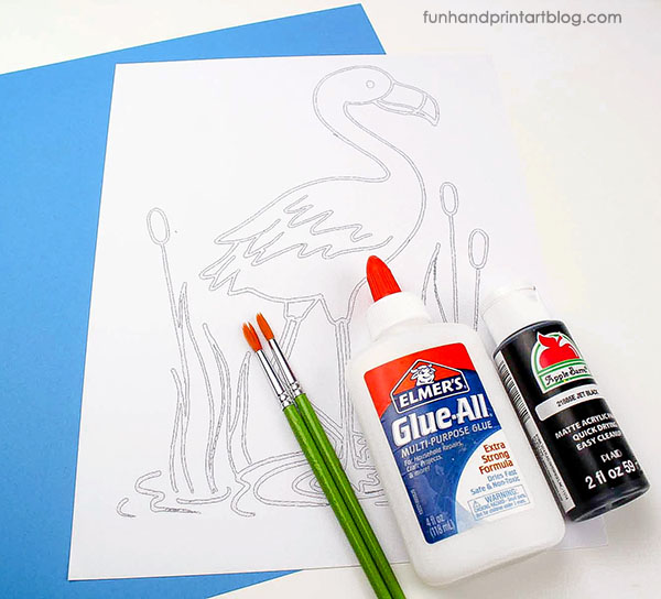 Supplies for Kids Pink Flamingo Art Project