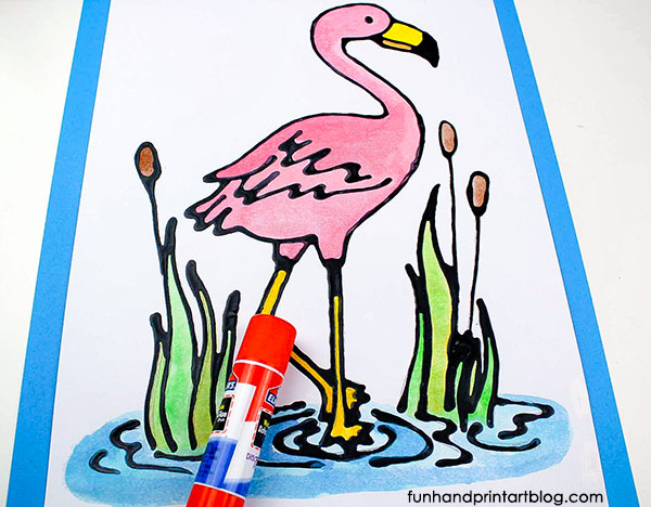 Pink Flamingo Black Glue Craft Idea For Kids Of All Ages