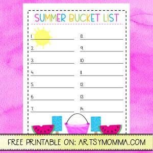 Printable Summer Bucket List for Summer Activities