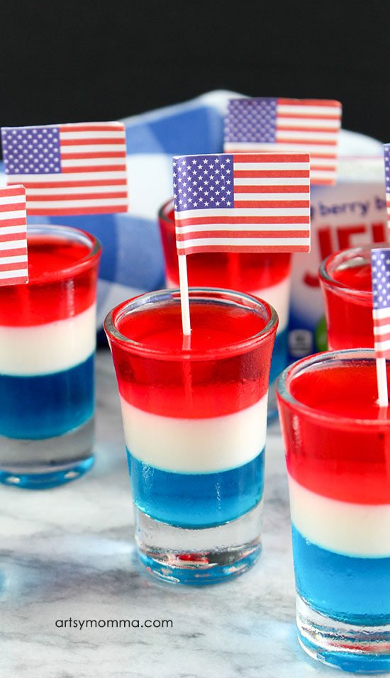 Non-Alcoholic Red, White, And Blue Layered Jello Shooters for Kids