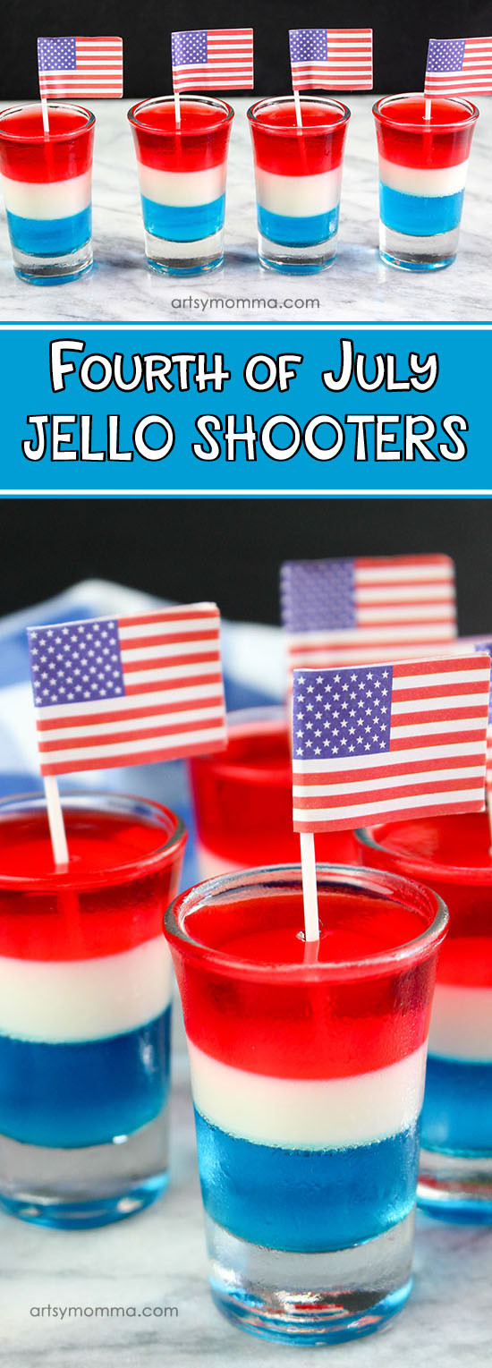 Fourth Of July Layered Jello Dessert Shooters for Kids Party