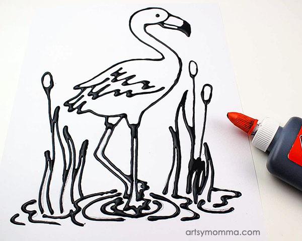 Flamingo Craft Using Black Glue