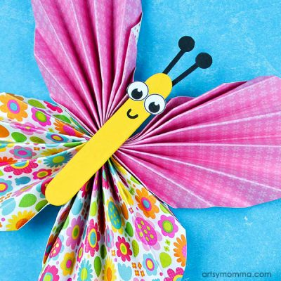 Adorable Accordion Folded Paper Butterflies Craft for Tweens