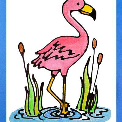 Pink Flamingo Coloring Template & Kids Watercolor Craft Idea