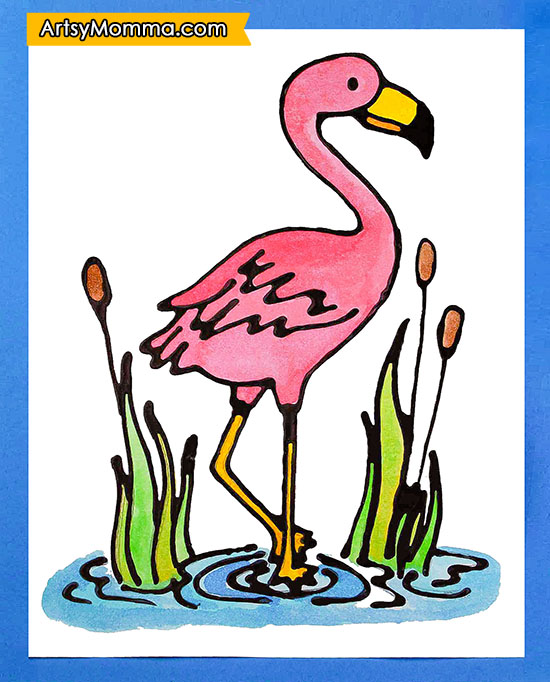Pink Flamingo Coloring Template & Kids Watercolor Craft Idea
