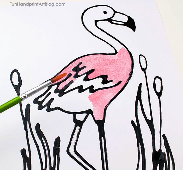Pretty Pink Flamingo Watercolor Art Project for Kids