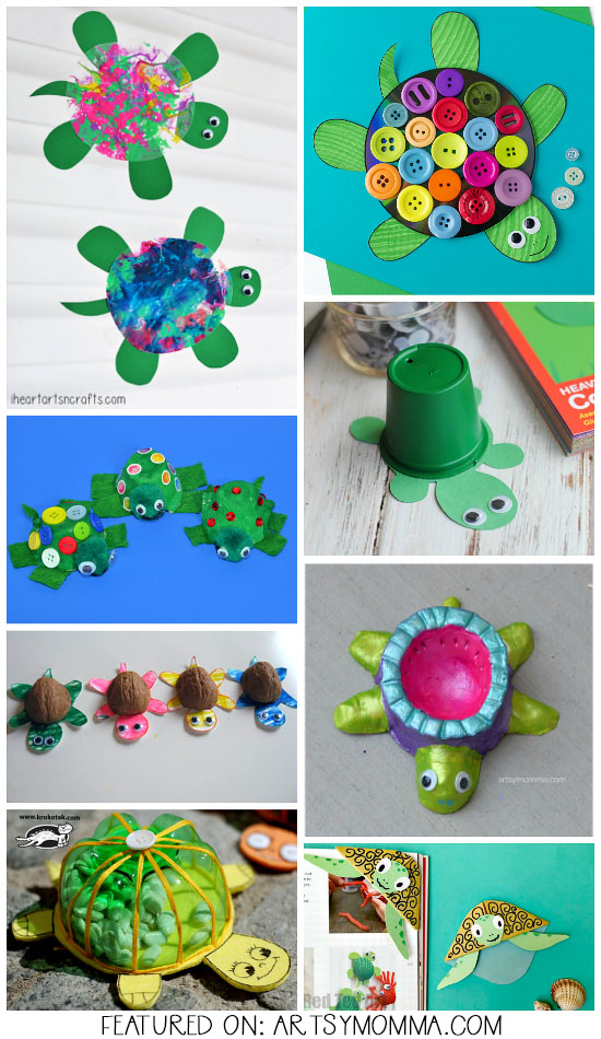 Sea Turtle Crafts made from paper plates, clay, cds, shells, & more!