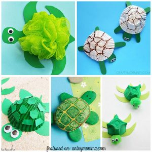 Lots of super cute sea turtle crafts that kids can make using shells, egg cartons, & more!