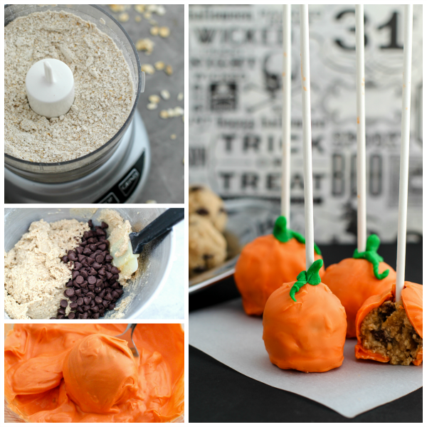 If you're looking for easy, gluten free cake pops, these pumpkin cookie dough cake pops are a great no-bake solution the kids can easily help make.