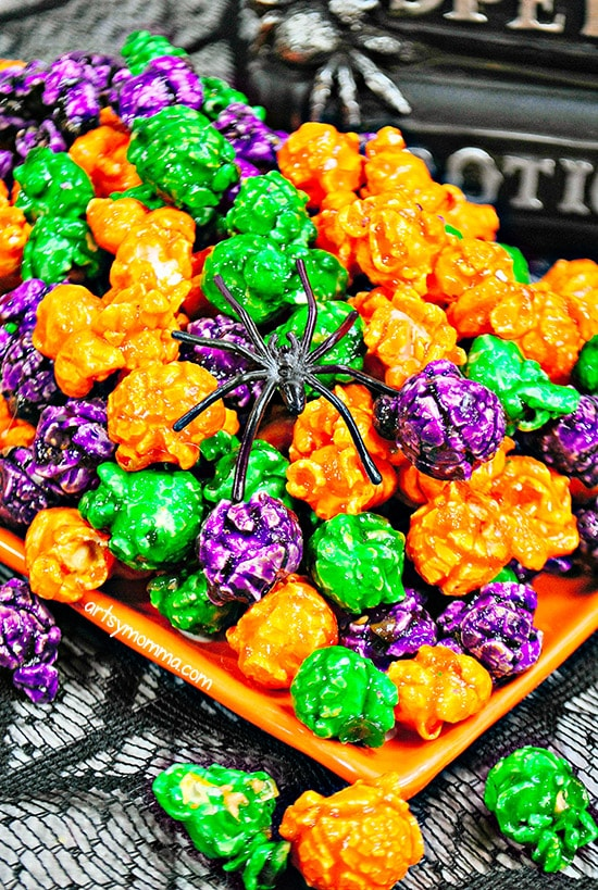 Purple, Orange, & Green Popcorn Recipe & Tutorial