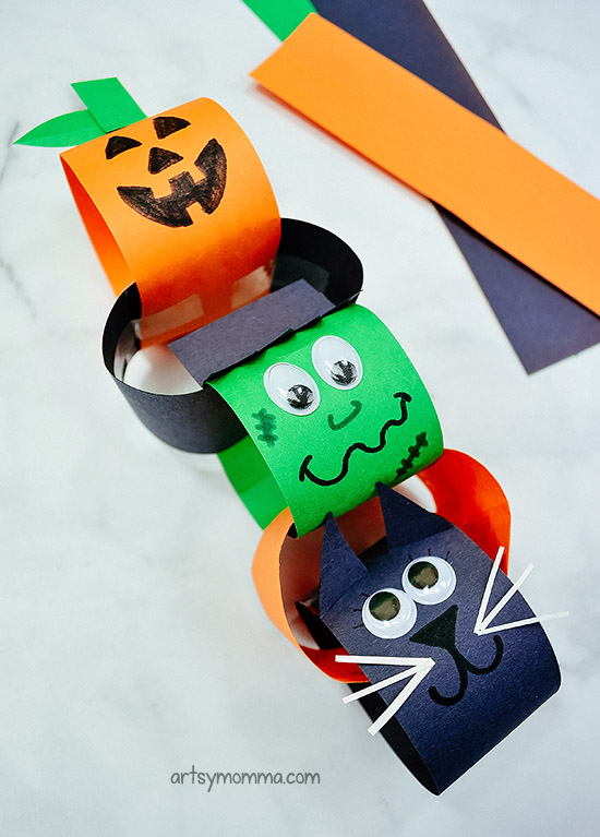 Paper Chain Halloween Characters craft & decoration idea for kids to make!