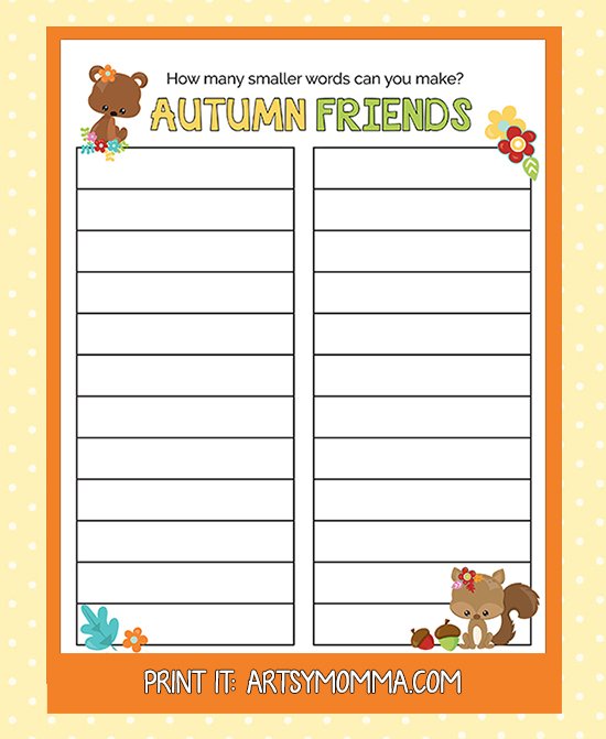 Autumn Friends Word Find Printable