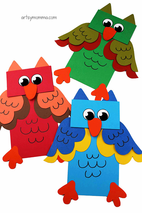 DIY Paper Bag Owl Hand Puppets For Kids