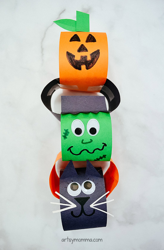 Halloween Paper Countdown Chain Craft For Kids: Pumpkin, Frankenstein, & Black Cat