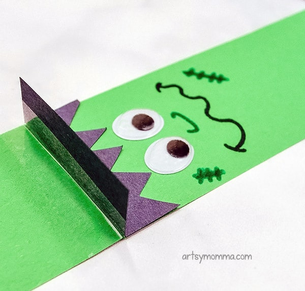Frankenstein Paper Chain Instructions - Add jagged hair